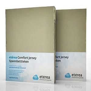 2er / Doppelset etérea Comfort Jersey Spannbettlaken Spannbetttuch Stucco in 90x200 - 100x200 cm