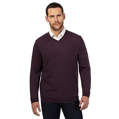 j-by-jasper-conran-mens-dark-purple-merino-wool-v-neck-jumper-l
