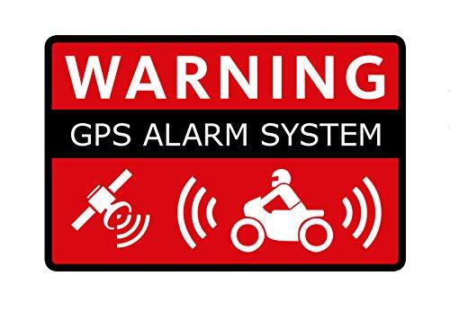 2 Stück GPS Aufkleber Motorrad Tracking Alarm Hinweis auf GPS-Sicherung Witterungsbeständig Waschanlagenfest