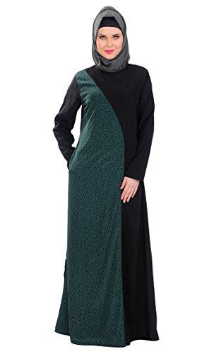 East Essence - Robe - Imprimé - Manches Longues - Femme Balck & Green