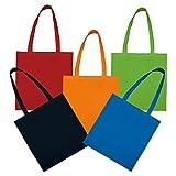 5 Baumwolltaschen mit zwei langen Henkeln in den Farben: orange, rot, grün, royalblau und schwarz