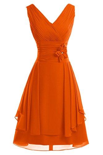 ivyd ressing Femme col V avec fleurs ligne A court Demoiselle d'Honneur Prom robe robe du soir Orange