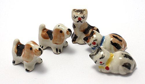 Mini Hund Katze Figur Puppenhaus Miniaturen Tiere Keramik Collectible Figur Set 5Pcs. (Pet-flug-fall)