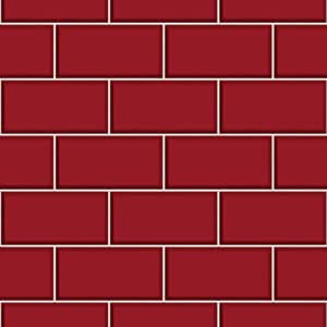 BHF FD40138 Ceramica Subway Tile Kitchen and Bathroom Wallpaper - Red