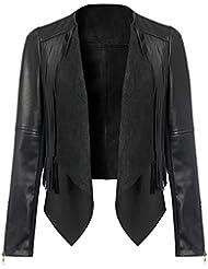 SODACODA Frauen Vegan Lederjacke mit Fransen - Schöne Faux Leder Oberbekleidung (S-XL)