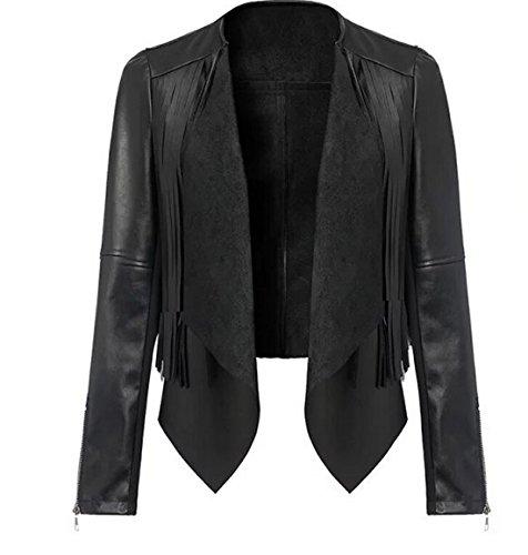 SODACODA Frauen Vegan Lederjacke mit Fransen - Schöne Faux Leder Oberbekleidung - L Damen Leder Fransen Jacke