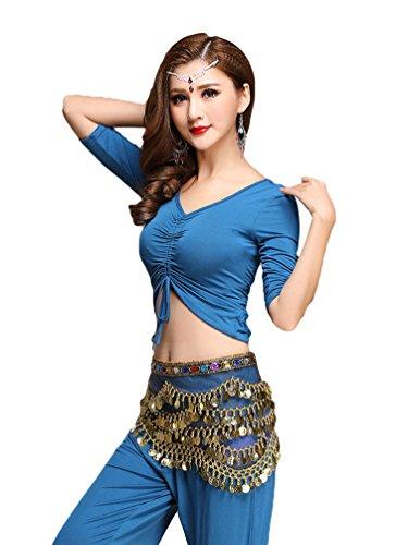 Kostüm Blaue Indische - YiJee Damen Tanzkleidung Bauchtanz Kostüm Set Stammes- Indischer Tanz Top & Paillette Bauchtanz Hose Münzen Blau M