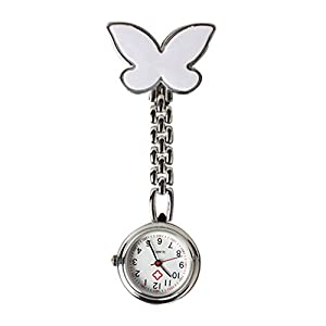 Rokoo Neue Art- und Weiseschmetterlings-Krankenschwester-Tabellen-Taschen-Uhr mit Klipp-Brosche-Ketten-Quarz