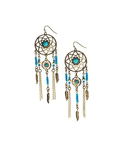 Lux Accessories Burnished Goldtone & Turquoise Dream Catcher Drop Earrings