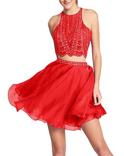 Promworld Damen A-Linie Kleid blau marineblau Rot