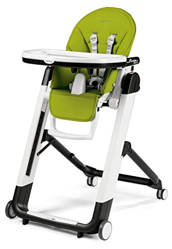 Grün Peg (Peg Perego Siesta Follow Me - Mela - Design-Hochstuhl mit Baby-Liegefunktion und Stop&Go-System mit Memory-Funktion, Lederimitat-Bezug, grün)