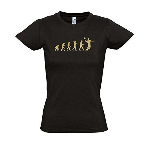 Damen T-Shirt - EVOLUTION - Handball Sport FUN KULT SHIRT S-XXL , Deep black - gold , M