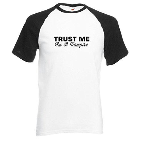 Trust Me I 'm A Vampire Baseball Style T-Shirt mit schwarzem Print Gr. Small, schwarz/weiß - Edward Cullen Design