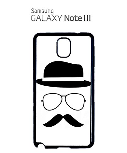 Moustache and Hat Face Geek Funny Hipster Swag Mobile Phone Case Back Cover Coque Housse Etui Noir Blanc pour Samsung Note 3 White Blanc