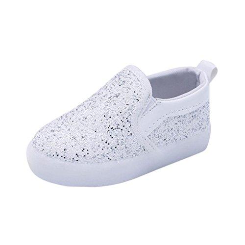 Kinder Schuhe mit LED Licht, FNKDOR Mädchen Jungen Baby Lauflernschuhe, 21-30 (30 Fußlänge:19CM, Weiß)