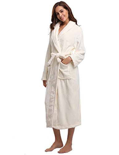 Aibrou Pyjama Femme Polaire Robe Chambre Homme Longue Hiver Sortie de Bain Peignoir Pas Cher personnalisé Violet EU48-50