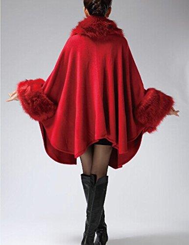 PLAER femmes Fausse fourrure de vison en cachemire frangé cardigan châle manteau cape Marron
