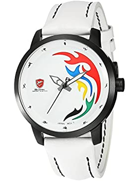 Shark Limitierte Auflage Herren Armbanduhr Weiß Leder Band Sportuhr SH515