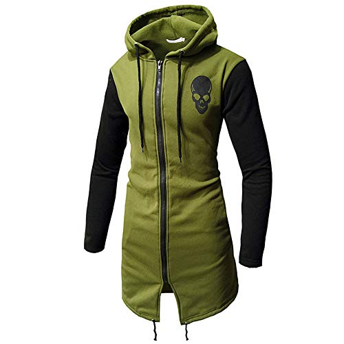 IMJONO Männer Herbst Winter lässige warme Camouflage Reißverschluss Lange Ärmel Top Bluse Jacke Mantel (EU-52/CN-2XL,Armeegrün)