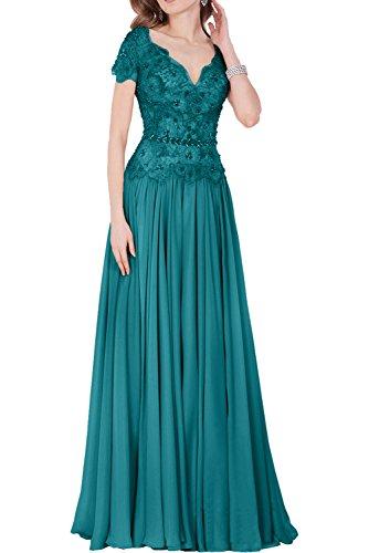 41479f780f543 Charmant Damen Rosa Spitze Kurzarm Chiffon Abendkleider Brautmutterkleider  Abschlussballkleider lang Neu Jaeger Gruen