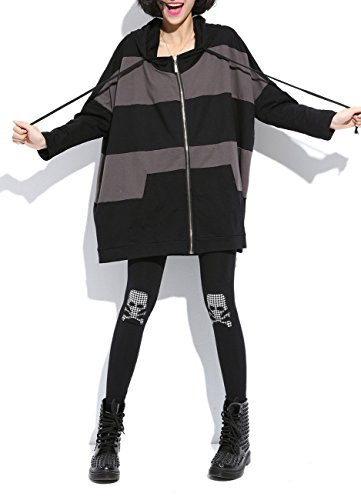 MeMoreCool Cappotto Cappuccio Cerniera Casual Scollo A V Color Block Coat cuciture Black Taglia unica
