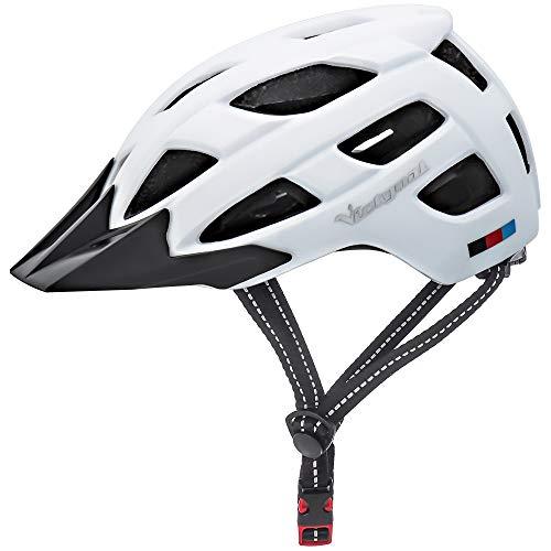 Victgoal Fahrradhelm Herren Damen mit abnehmbaren Visier Insektennetz gepolsterte Fahrradhelm Leichte Fahrradhelme Mountainbike Helm 57-61 cm (White)