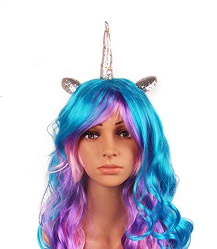 Mädchen Karneval Kostüm Festival Little Pony Einhorn bunte Perücke & Haarreifen (Silber-Horn) (Perücke Mädchen Kostüm)