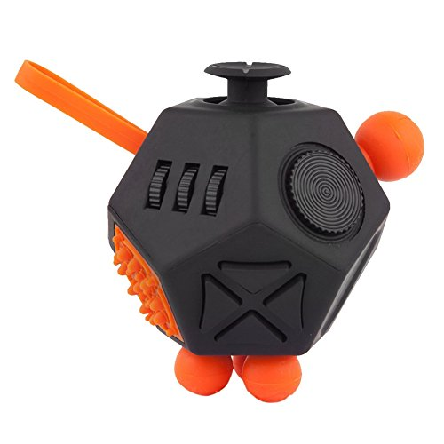 Per 12 Sides Decompression Cube Stress Reliever Toys Anti-Anxiety With Belt Button Silicone Ball For Adults Teens Kids-Black