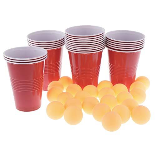 Baoblaze 24 Vasos Rojos + Pelotas Ping Pong Amarillas