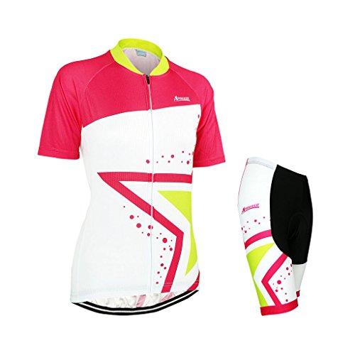 GWELL Damen Fahrradtrikot Set Fahrrad Anzug Fahrradbekleidung Trikot Kurzarm + Radhose mit 3D Sitzpolster gelbrot L
