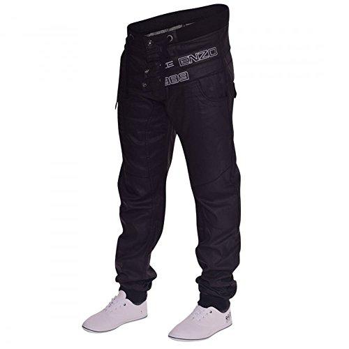 Herren Designer Jogger-Jeans, mit Bündchen Schwarz