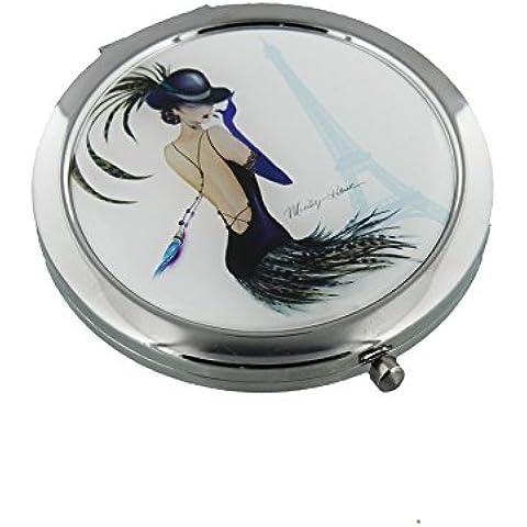 Sophia-Specchietto compatto 7 cm, Cabaret placcato argento, motivo: Torre Eiffel