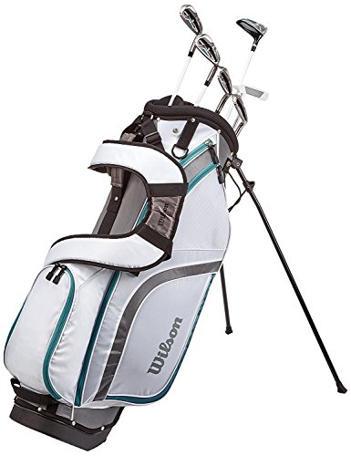 Wilson Anfänger-Halbsatz, 6 Golfschläger mit Standbag, Damen (rechte Hand), Pro Staff HDX, Weiß/Grau/Türkis, WGG130003
