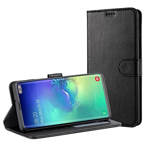 TAMOWA Handyhülle für Samsung Galaxy S10 Plus Hülle, Leder Flip Handyhülle Schutzhülle Tasche für Samsung Galaxy S10 Plus [Kartenfach] [Standfunktion] [Magnetverschluss], Schwarz