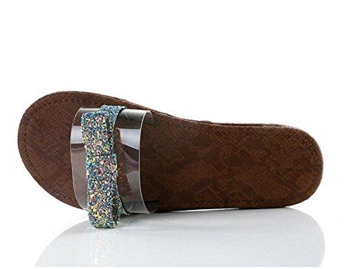 LDMB Damen Casual Peep Toe Sequins Mode Metall Sandalen / Hausschuhe Black