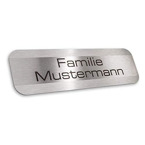 Metzler-Trade - Namensschild Edelstahl Briefkasten – inklusive Gravur – selbstklebend oder Bohrungen – witterungsbeständig und langlebig - Produktmaße: 70x20mm