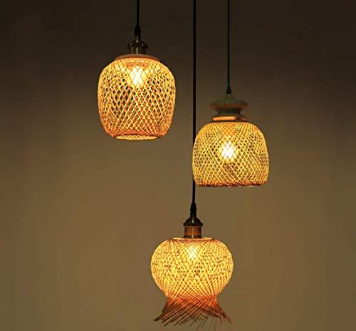 WIVION Deco Art Deco runde,Esstisch,Esszimmer,Pendelleuchte,Pendellampe,Hängelampe,Lampe,Leuchte rotan,Rattan,Innenbeleuchtung,Wohnzimmerlampe,Schlafzimmer,Küche,Bamboo Rund(3 Lichter) -