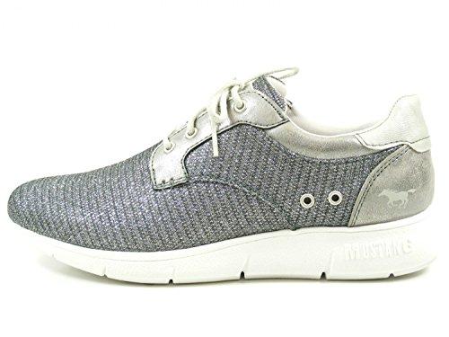 Mustang 1242-301 Schuhe Damen Schnürer Sneaker Metallic, Schuhgröße:42;Farbe:Silber