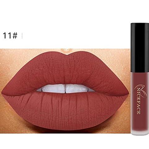 Bluestercool 26 Couleurs Rouge à Lèvres Liquide Mat Waterproof Hydratant Brillant Maquillage à Lèvres (9.8*1.5*1.5, 11#)