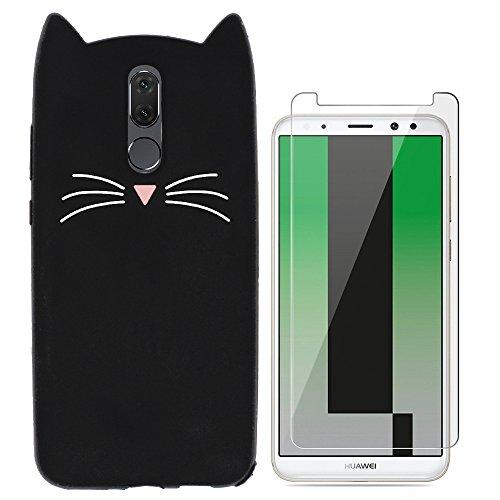Ash-case Hülle für Huawei Mate 10 Lite - 3D Silikon Backcover Case Handy Schutzhülle - Cover klar Katze Design Schwarz Weiß + 1X Screen Protector -
