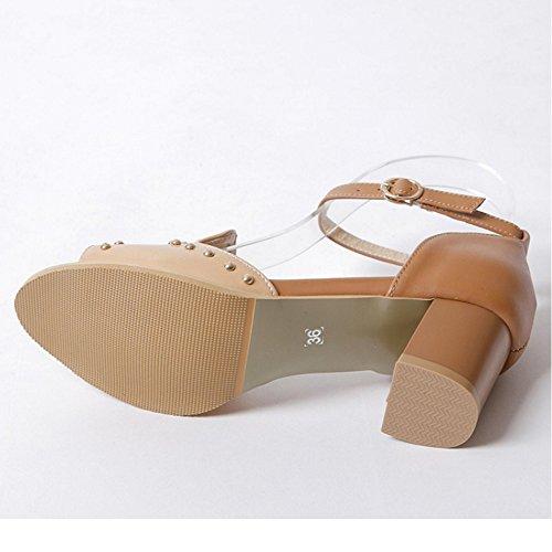TAOFFEN Damen Gladiator Peep-toe Mid Heel Sandalen Buckle Strap Wedding Shoes Khaki