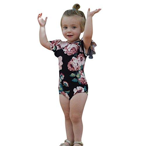 JYJMInfant Jungen Mädchen Strampler 3-12 Monate Baby Overall Kleidung Neugeborenen Strampler Kinder Sommer Brief Print Playsuits Kleinkinder Kurzarm Outfits (80, Schwarz)