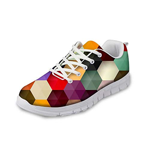 MODEGA Bunte Schuhe Plaid Turnschuhe Sport Schnürsenkel schöne Schuhe für Frauen Plus Größe laufende Schuhe Männer asics Sportschuhe, Bequeme Schuhe für Frauen Plus Größe g Größe 44 EU|9 UK (Asics Frauen Schuhe Größe 9)