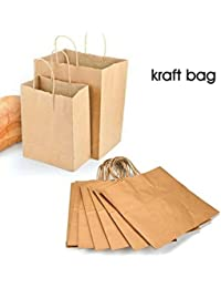 "5PCS Dr. Scholl's Kraft Handles Paper Bag Loot Fashion Gift /Natural Kraft Jumbo Shopping Bag With Handles 19""..."