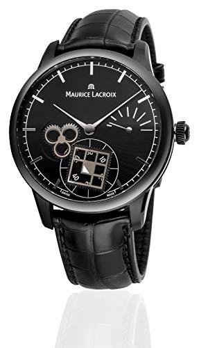 Maurice Lacroix Masterpiece Square Wheel Limited Edition Hombre Reloj de Pulsera analógico Banda Cuerda Manual cocodrilo de Piel Negra Black/Black mp7158de pvb01-302