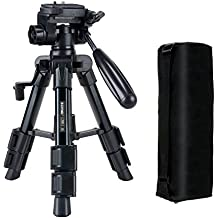 New Travel Tripod - Zomei Q100 Mini Desktop Aluminum Tripod Max Height 20in 3-Section Column Leg with 3-Way Panormaic Head Includes Carrying Case For Canon Nikon Sony Olympus All DSLR Digital Camera DV.