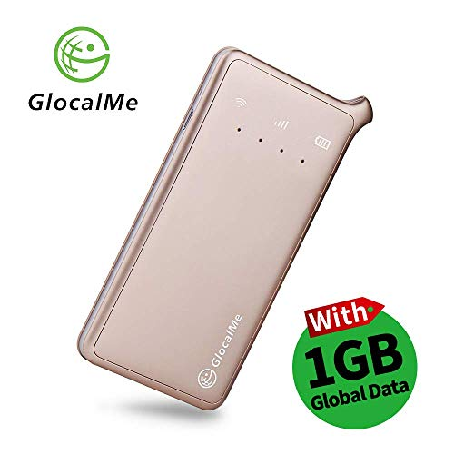 GlocalMe U2 Router 4G LTE Pocket WIFI Mobile, Nessuna Carta SIM Roaming Internazionale Internet Gratuito con 1 GB gratis Global Data per Viaggi e Affari (Oro)