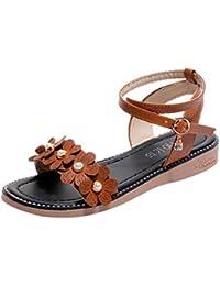 Vectry Sandalen Damen Absatz Plateau Flach Keilabsatz Schuhe Sommer Damenschuhe Gladiator Leder - Platform Stripe