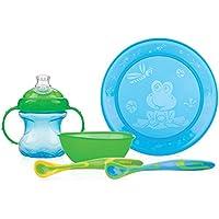 Nûby Couverts - Set repas (assiette, bol, gobelet + 2 cuillères) couleur GARCON (bleu/vert)