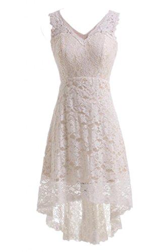 Gorgeous Bride Elegant Kurz V-Ausschnitt A-Linie Satin Spitze Brautkleid Hochzeitskleid